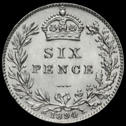 1894 Queen Victoria Veiled Head Silver Sixpence Reverse