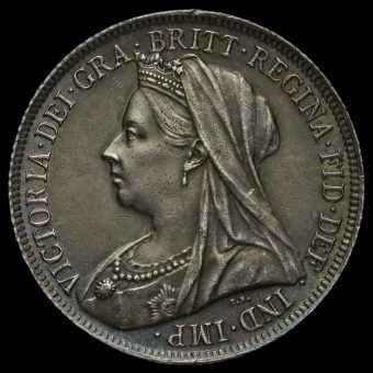 1899 Queen Victoria Veiled Head Silver Shilling Obverse