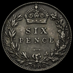1906 Edward VII Silver Sixpence Reverse