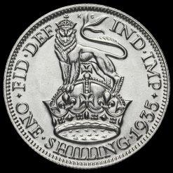 1935 George V Silver Shilling Reverse