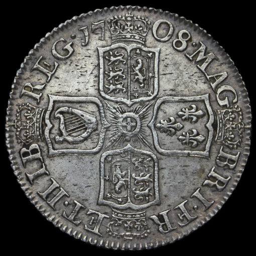 1708 Queen Anne Early Milled Silver Shilling Reverse