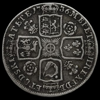 1736 George II Early Milled Silver Shilling Reverse