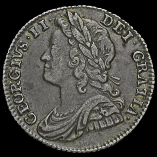 1741 George II Early Milled Silver Sixpence Obverse