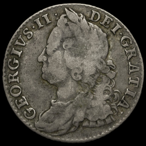 1747 George II Early Milled Silver Shilling Obverse