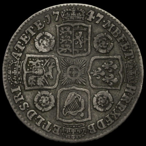 1747 George II Early Milled Silver Shilling Reverse
