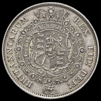 1817 George III Milled Silver 'Bull Head' Half Crown Reverse