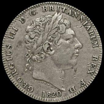 1820 George III Milled Silver LX Crown Obverse