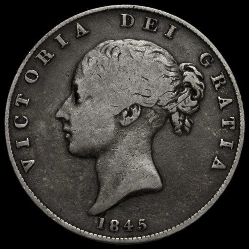 1845 Queen Victoria Young Head Silver Half Crown Obverse