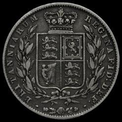 1845 Queen Victoria Young Head Silver Half Crown Reverse