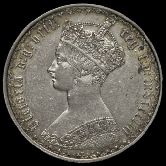 1853 Queen Victoria Gothic Florin Obverse