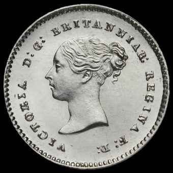 1871 Queen Victoria Young Head Silver Maundy Twopence Obverse