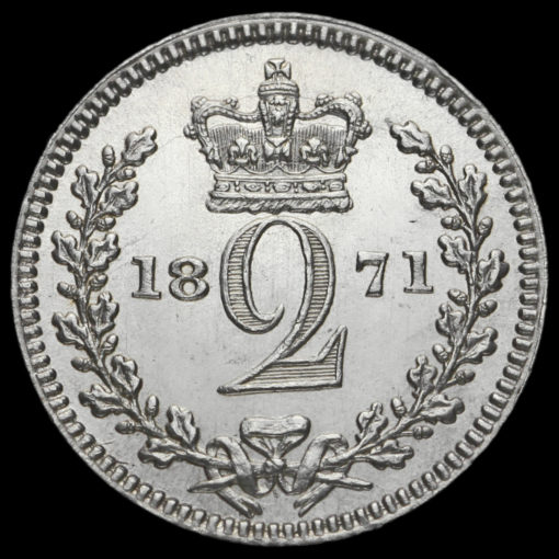 1871 Queen Victoria Young Head Silver Maundy Twopence Reverse