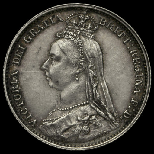 1887 Queen Victoria Jubilee Head Sixpence Obverse
