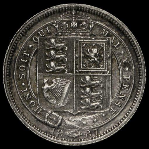 1887 Queen Victoria Jubilee Head Sixpence Reverse