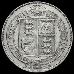 1889 Queen Victoria Jubilee Small Head Silver Shilling Reverse