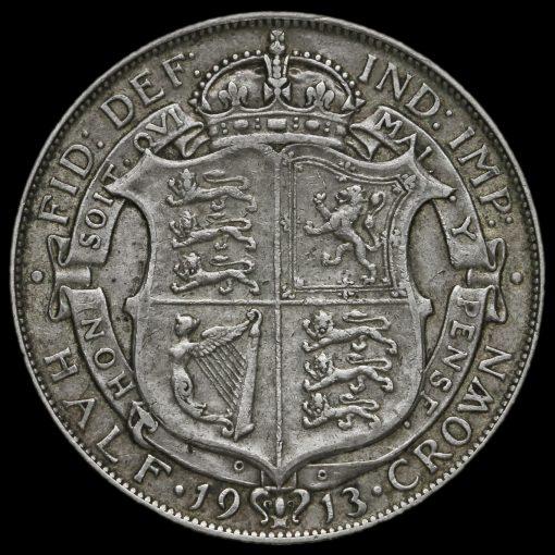 1913 George V Silver Half Crown Reverse