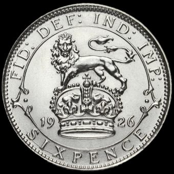 1926 George V Silver Sixpence Reverse