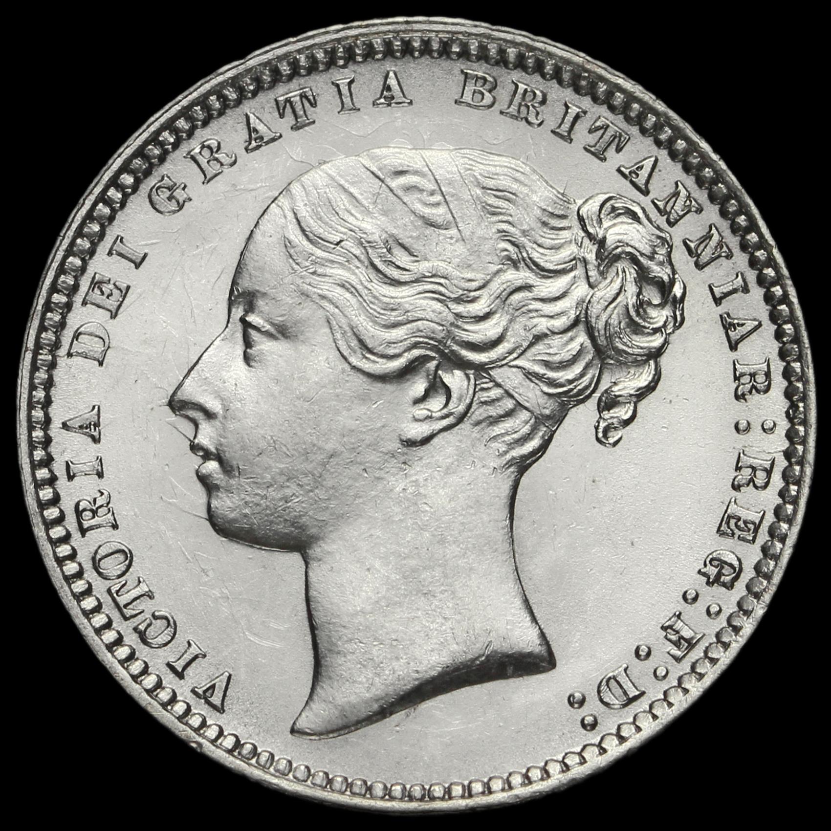 1868 Queen Victoria Young Head Silver Shilling, A/UNC