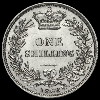 1868 Queen Victoria Young Head Silver Shilling Reverse