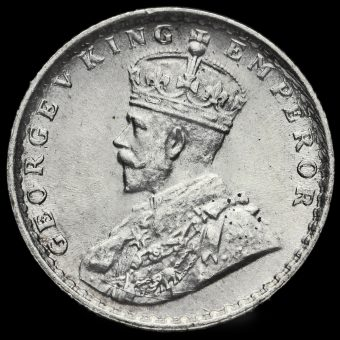 British India 1919 George V 1/4 Rupee Obverse