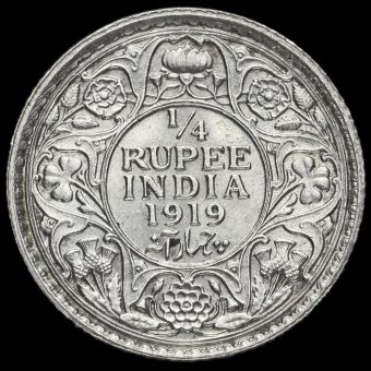 British India 1919 George V 1/4 Rupee Reverse