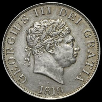 1819 George III Milled Silver Half Crown Obverse