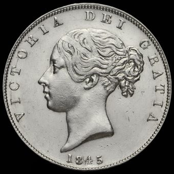 1845 Queen Victoria Young Head Silver Half Crown Obverse