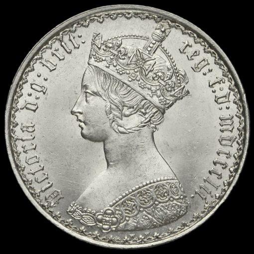 1852 Queen Victoria Gothic Florin Obverse
