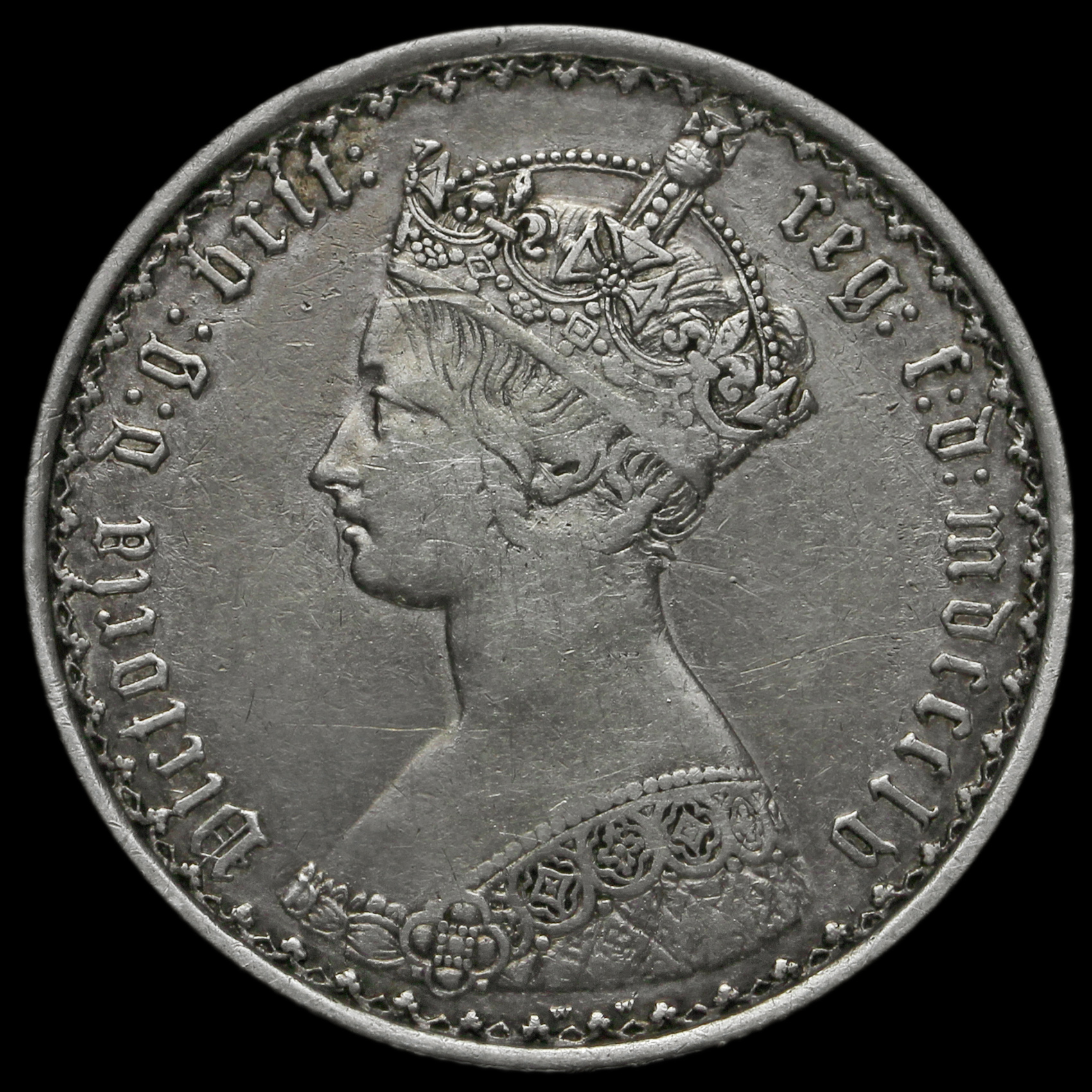 1855 Queen Victoria Gothic Florin, Rare Onc Tenth in Legend Variety