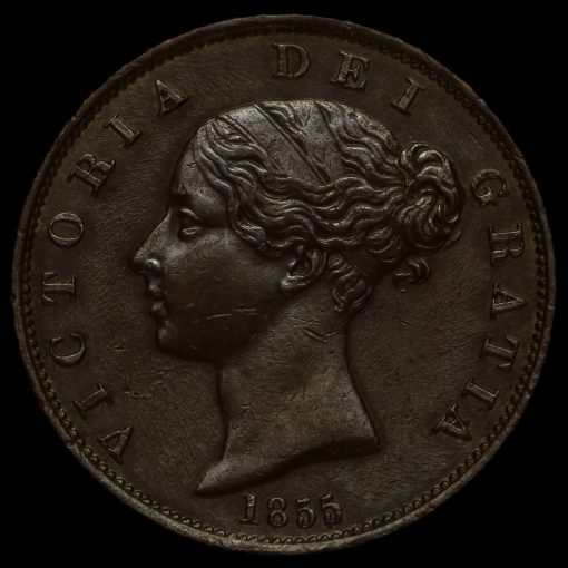 1855 Queen Victoria Young Head Copper Halfpenny Obverse