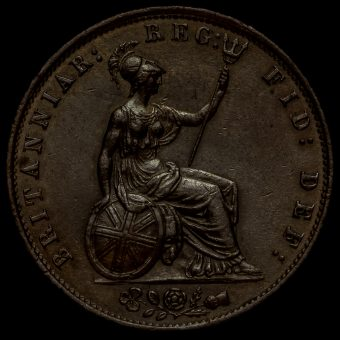 1855 Queen Victoria Young Head Copper Halfpenny Reverse