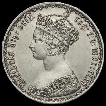 1865 Queen Victoria Gothic Florin Obverse