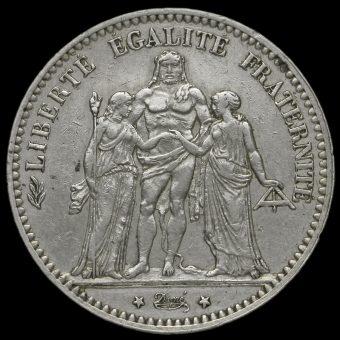 France 1875 Silver 5 Francs Obverse