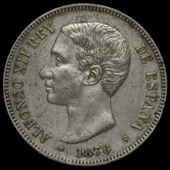 Spain 1876 Alfonso XII Silver 5 Pesetas Obverse