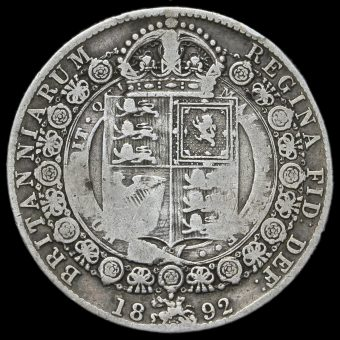 1892 Queen Victoria Jubilee Head Silver Half Crown Reverse