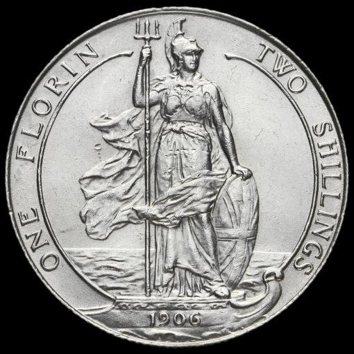 1906 Edward VII Silver Florin Obverse Reverse