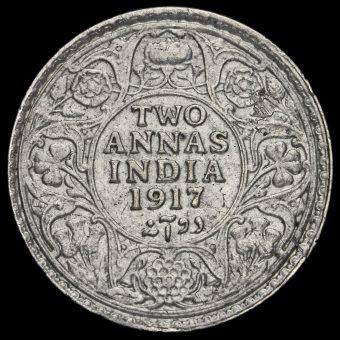 British India 1917 George V 2 Annas Reverse