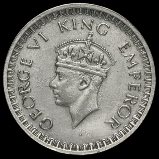 British India 1942 George VI Half Rupee Obverse