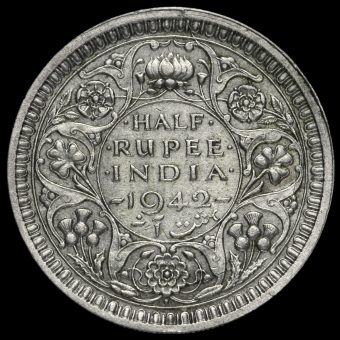 British India 1942 George VI Half Rupee Reverse