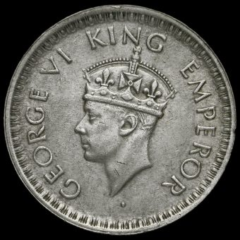 British India 1943 George VI Half Rupee Obverse