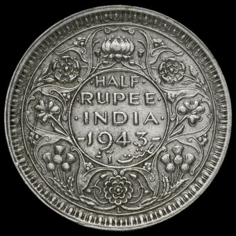 British India 1943 George VI Half Rupee Reverse