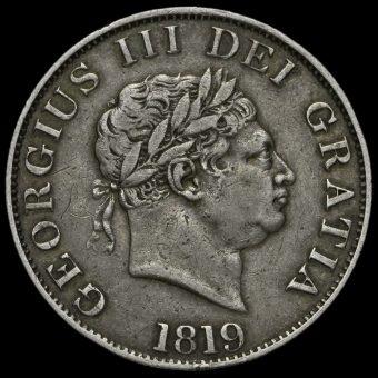1819 George III Milled Silver Half Crown Obverse
