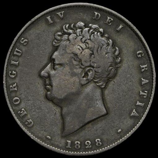 1828 George IV Milled Silver Half Crown Obverse