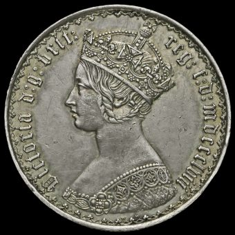 1858 Queen Victoria Gothic Florin Obverse