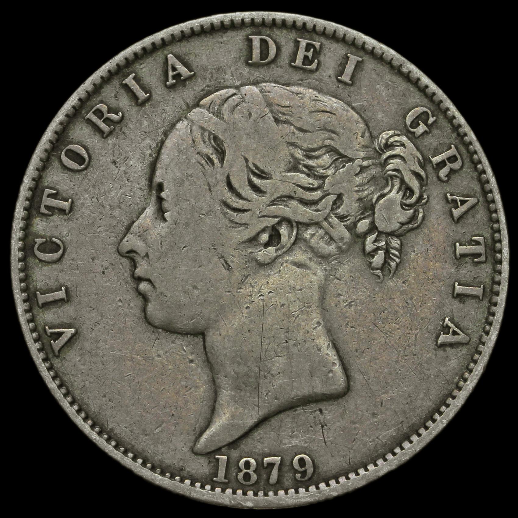 1879 Queen Victoria Young Head Silver Half Crown, Rare, GF