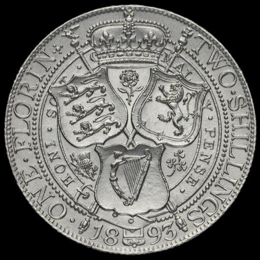 1893 Queen Victoria Veiled Head Silver Florin Reverse