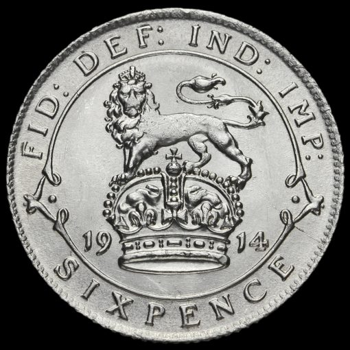 1914 George V Silver Sixpence Reverse