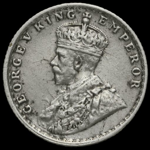 British India 1918 George V 1/4 Rupee Obverse
