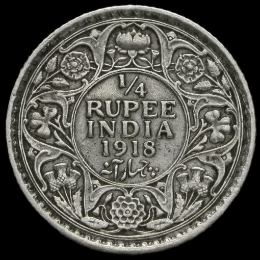 British India 1918 George V 1/4 Rupee Reverse