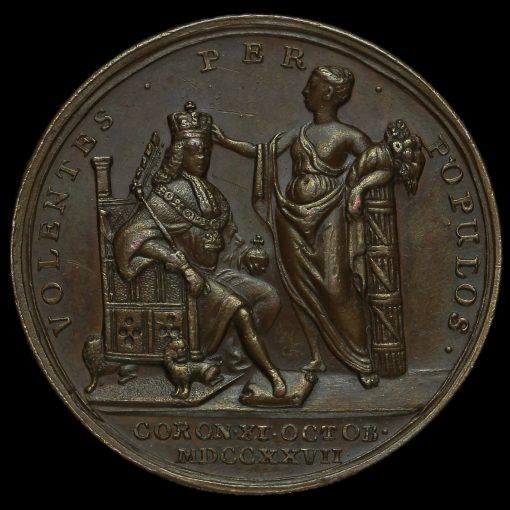 1727 George II Coronation Bronze Medal Reverse
